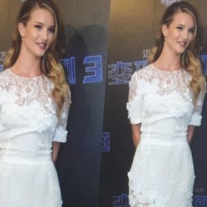 Dresses & Skirts - White lace and white flower embellished dress