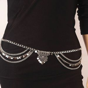 Curvy Couture Accessories - Boho Style Festival Ready Chain Belt Silver NWT
