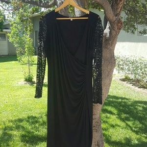 Kiyonna Dresses & Skirts - Black Dress with Lace Sleeves