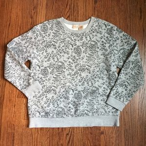 Covington Tops - Floral grey sweater