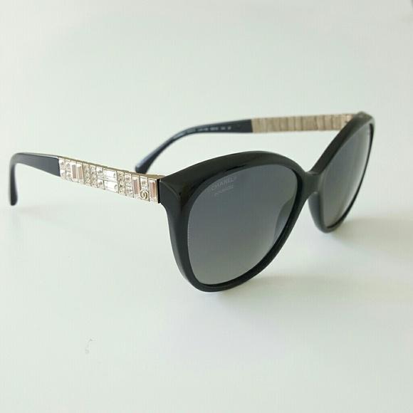 31f2c5210e CHANEL Accessories - Chanel Black Cristal Bijou Polarized Sunglasses