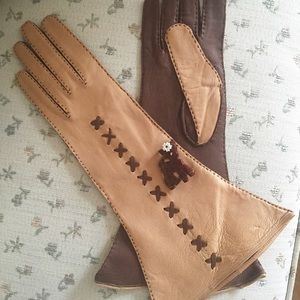 1940s Kid Leather Gauntlet Gloves w/cross stitch
