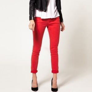 "J. Crew Pants - J.crew women's ""Minnie"" red  cropped skinny pants"
