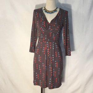 Boden dot print knit V-neck 3/4 sleeve mini dress