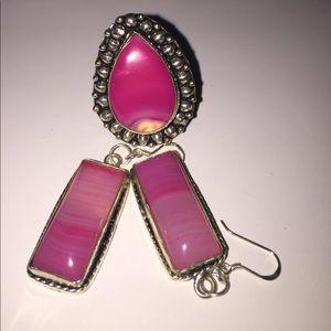 Jewelry - FLASH 💃🏻🕺Beautiful Pink Agate Jewelry Set. NWOT