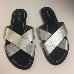 New J crew cypress metallic silver slip on sandals