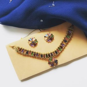 Jewelry - Colorful floral Indian necklace and earrings set!