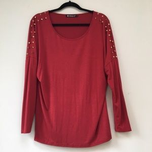 Allegra K Tops - Red Studded long sleeve top