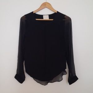 Line & Dot Tops - Line and Dot Black Silk Shirt with Sheer Sleeves