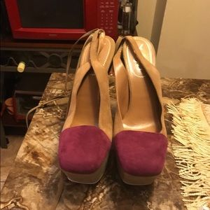 Yves Saint Laurent Shoes - YSL suede two tone sling back pumps