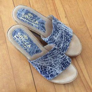 Sbicca Shoes - Light blue wedge sandals.
