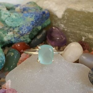 Earth Art hand crafted artisan  Jewelry - Dainty Aqua Chalcedony Gemstone Ring Sterling