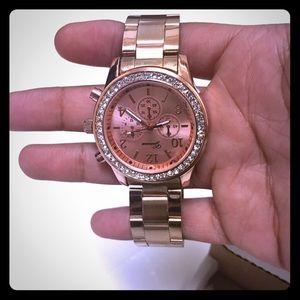 Geneva Platinum Accessories - NEW Geneva Rose Gold Boyfriend Watch