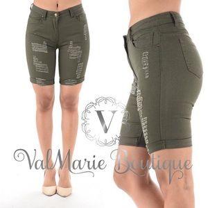 Olive Destroyed Bermuda Shorts