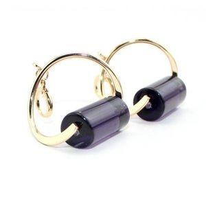 Jewelry - Gold plated purple glass drop earrings