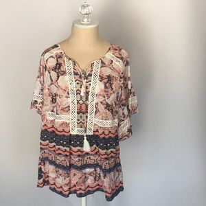 Style & Co Tops - Style & Co lace trim flutter top