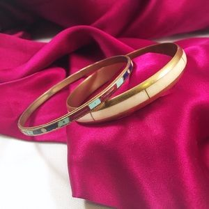 VINTAGE Brass Bangle Enamel Set