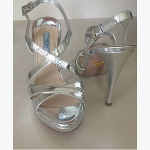 Prada Silver Metallic Strappy Sandals