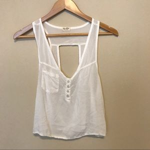 Brandy Melville Tops - John galt open back button up crop