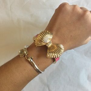 Authentic Lilly Pulitzer Pink and Gold Bow Bangle