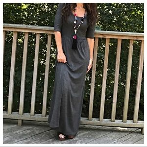 Dresses & Skirts - 🆕 charcoal grey maxi dress ONE HOUR SALE