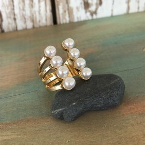 Jewelry - 14k plated open style 8 pearl ring 7
