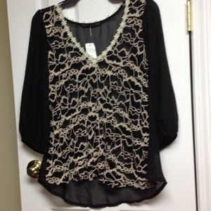 NWT black sheer blouse