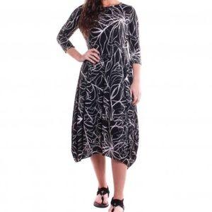 Comfy USA Kati Print Dress Black and White