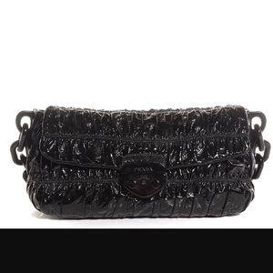 Handbags - PRADA Vernice Gaufre Shoulder Bag Nero Black