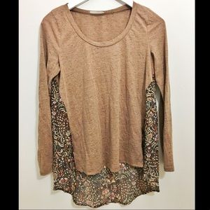Lush Tops - Lush Boho sheer panel high low long sleeve top