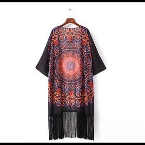 Other - Price Firm🎁Cover up cardigan kimono fringed