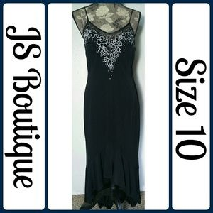 JS Boutique Dresses & Skirts - Sz 10 LBD Beaded Embroidered Hi-Low Black Dress