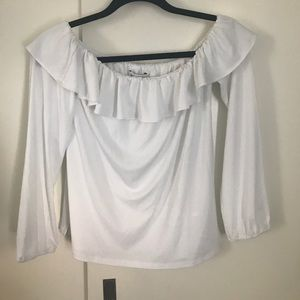 Bebe White Off Shoulder Really Ruffle Top NWT