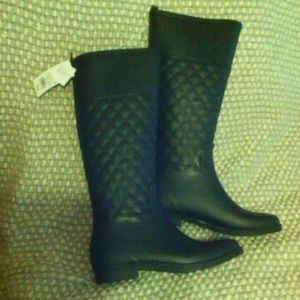 NWT quilted black rubber riding rain boots NEW
