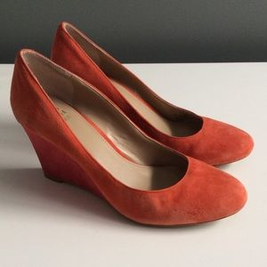 Saks Fifth Avenue Shoes - Saks Fifth Avenue Orange Suede Wedges