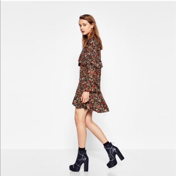 b0798a20 Zara Dresses | Trafaluc Collection Floral Ruffle Dress Nwt | Poshmark