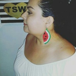 "WATERMELON DANGLE EARRINGS 3"" HANDMADE CROCHET"
