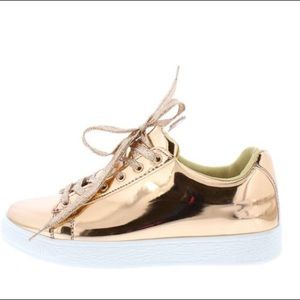 Shoes - Rose Gold Mirror Finish Flat Sneaker