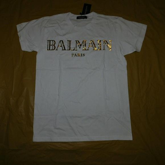 78 off balmain other balmain white gold foil for Balmain white logo t shirt