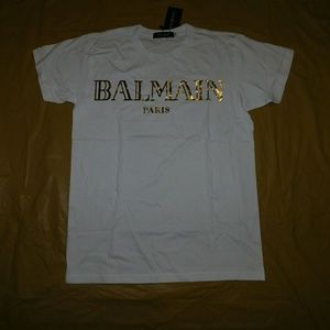 Balmain Other - Balmain White & Gold Signature Logo T-Shirt