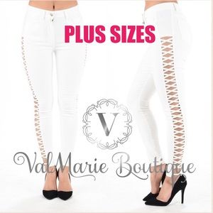 ValMarie Boutique Denim - MEGA STRETCHY WHITE SEXY LATTICE CUT Pants
