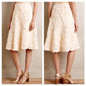 Anthropologie Tufted Blossom Midi Skirt