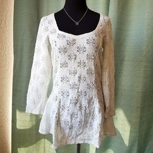Free People White Eyelet Crochet Summer Dress Lrg