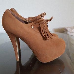 Shoes - Faux Suede Lace-Up Platform Booties