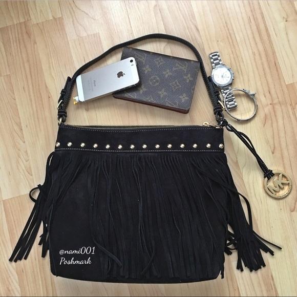 e264f560e948 Michael Kors Bags   Dakota Black Suede Fringe Hobo Bag   Poshmark