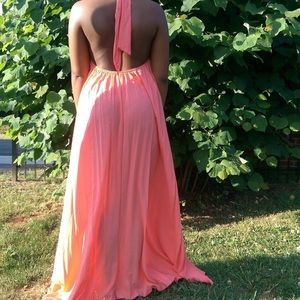 Elan Dresses & Skirts - One Size Flowy Peach Halter Maxi Coverup