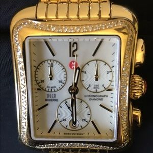 Michele Accessories - Michele Deco Gold Diamond Watch