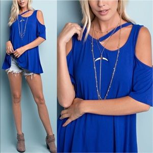 ROSALYN cold shoulder top - ROYAL BLUE