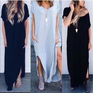 🚨1 HR SALE🚨CHARLIZE solid boho dress - BLACK