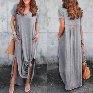 CHARLIZE solid boho dress - H. GREY